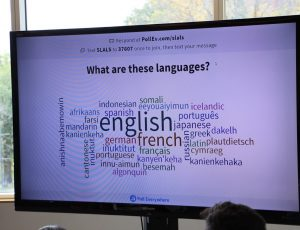 Word cloud on screen
