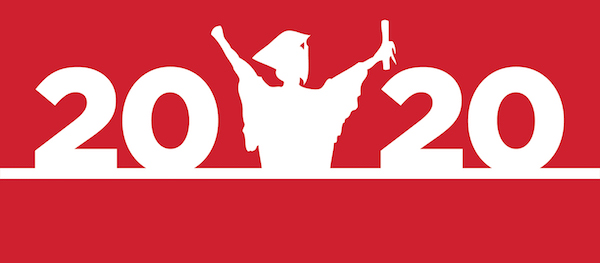 2020 Grad banner shows 2020 with a celebrating capped and gowned figure raising arms in celebration.