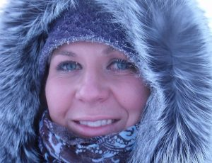 Amanda Juby in a parka with ice forming on her eyelids