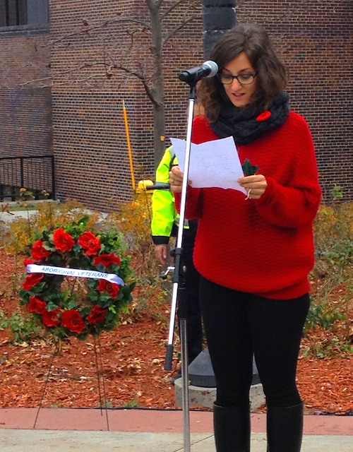 ALDS MA student reads her poem at Remembrance Day ceremony