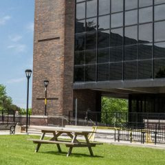 A photo of the courtyard outside Dunton Tower.