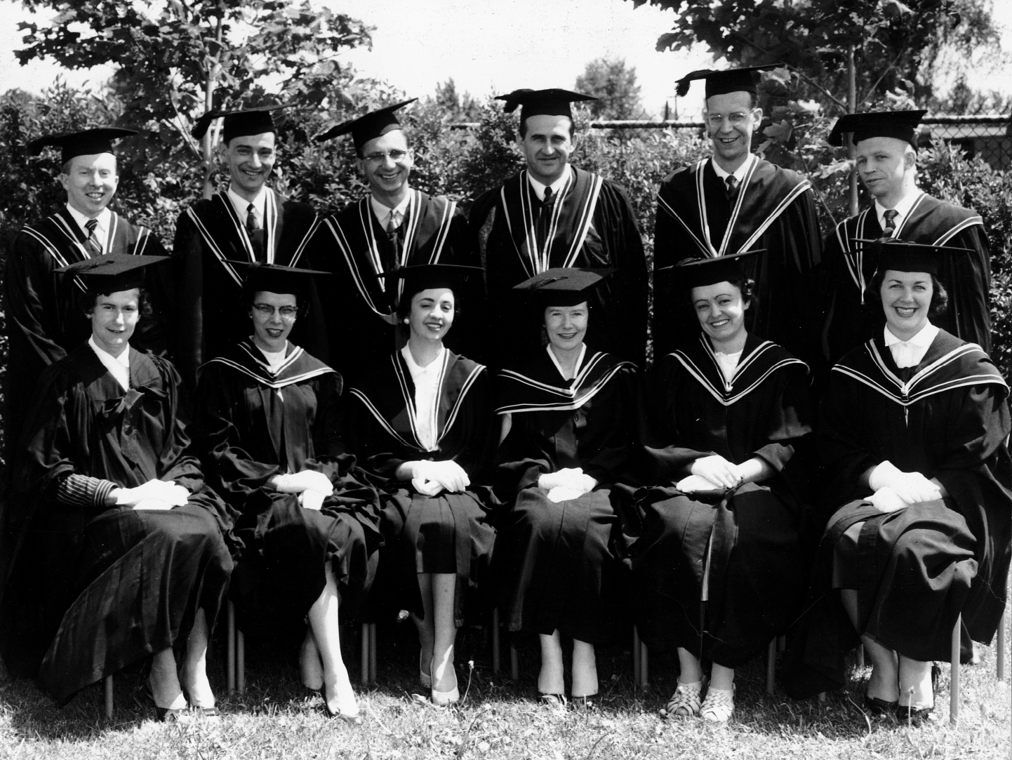 A photo of the graduating class of 1957 from the School of Social Work.