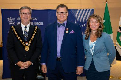 Mayor Jim Watson, Chris Braeuel, and Councillor Jenna Sudds