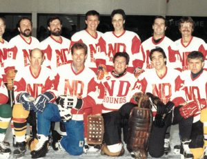 Group photo including Glen Toner at the Notre Dame Reunion Hockey, 1995. Glen played on the same team as Jason Kenney (for once).