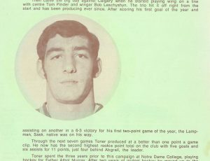 Photo of Glen Toner at age 18, when he played for the Saskatoon Blades, 1970