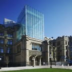"""Exterior of newly renovated VMMB, April 2010. Five years of renovation to this Ottawa landmark were completed on May 22, 2010, and the Canadian Museum of Nature will be fully reopened to the public.This historic, Gothic-style building is officially named the Victoria Memorial Museum Building but is also known locally as the """"castle"""". Although the museum itself dates back more than 150 years, the building will be 100 years old in 2010.Major renovations began in 2004 to improve the infrastructure, rehabilitate historic features of the building and create new, modern galleries.Two new signature galleries (the Water Gallery and the Earth Gallery), new spaces for special exhibitions, new visitor amenities and beautiful settings for special events will be unveiled at our Grand Reopening celebration in May.One of the museum's most remarkable new features is a glass """"lantern"""" that now tops the front entrance where a stone tower stood nearly a century ago. The tower was removed because the building was sinking due to unstable soil conditions.The lantern encloses a butterfly staircase that evokes the past and symbolizes the renewal of the museum's interior spaces.Architectureaddition of a """"lantern"""", which will evoke the building's early tower over the main entrance, and will permit circulation of visitors from the second to the fourth floorsrelocation of the greenhouse from the roof to the ground level.InfrastructureA major upgrade to the building's infrastructure, including electrical, water, heating and ventilation systems.View copyright information.ConservationInstallation of an interior wall to create a """"dynamic buffer zone"""" that will maintain required environmental settings such as temperature and humidity and will also protect the exterior stonework from effects of high humidity.StructureReinforcement of the structure of the building to ensure the building meets seismic codes.ExhibitionDuring the renewal of the VMMB, all current galleries will be relo"""