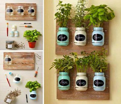 Mason jars repurposed for an indoor herb garden