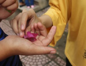 lower petal in the palm of a little girl's hand