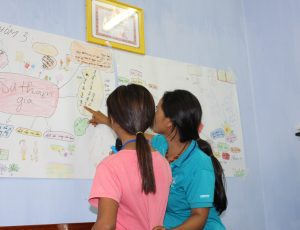 two girls looking at a poster on the wall
