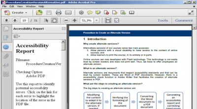 A screenshot of a sample accessibility report