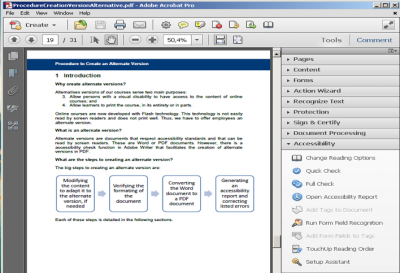 A screenshot of the accessibility tools menu in Adobe Acrobat Pro