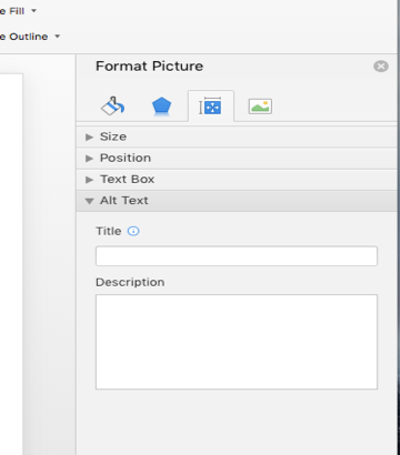 Screenshot of where to add Alt text to pictures