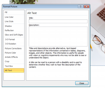 A screen shot of the format picture menu for adding alt text
