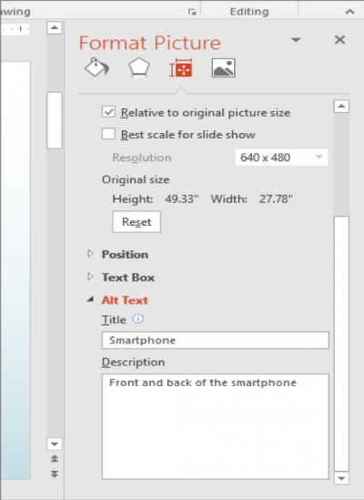 A screenshot of where to add alt text to pictures