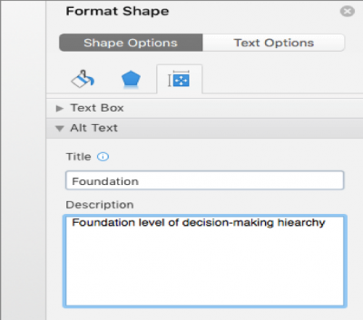 A screenshot of the menu for adding alt text to a shape