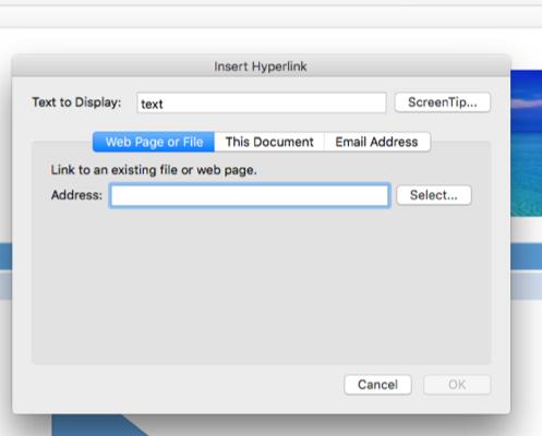 Screenshot of where to add hyperlinks