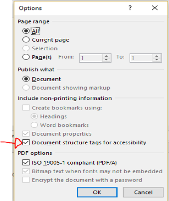 A screenshot of the options menu when exporting a PDF in Word