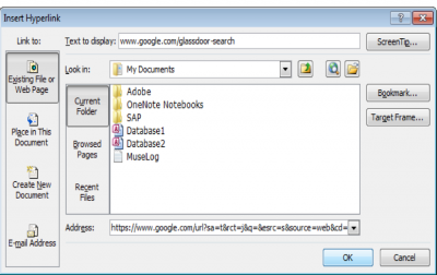 A screenshot of the menu for inserting hyperlinks