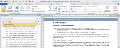 A screenshot of the navigation pane in Word