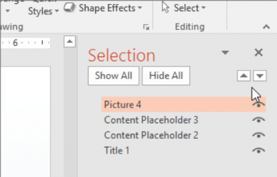 A screenshot of where to order objects in PowerPoint