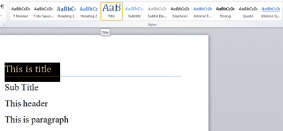 A screenshot of the style pane in Word