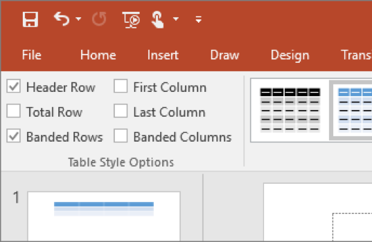 Screenshot of where to find table layout structure