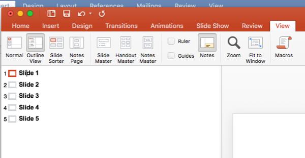 Screenshot of where to write slide titles