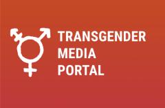 Trans Sign on Orange and Pink Background with words Transgender Media Portal