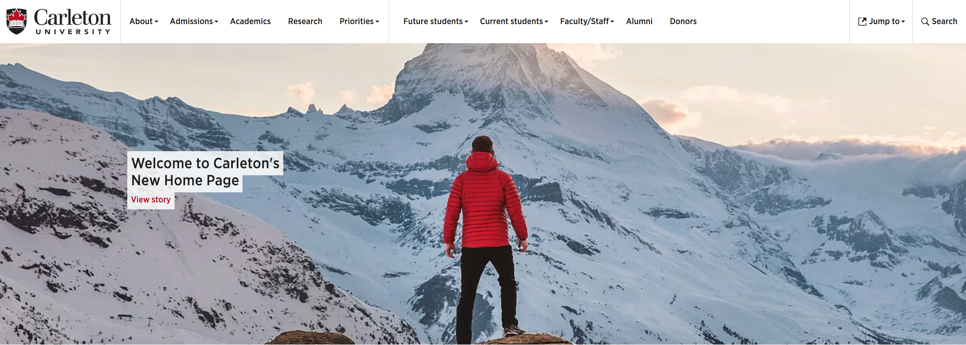 Carleton's new homepage showing top navigation that is now white, not black