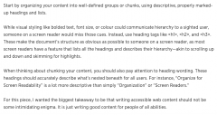 text on a page showing content that is accessible, description of why it's accessible located below the image