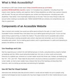 text on a page showing accessible web content, description of why it is accessible below image